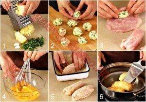 6 стадий приготовления фаршированных куриных котлет с сыром