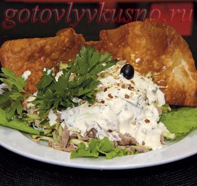 Салат с отварной говядиной , огурцами, яйцом