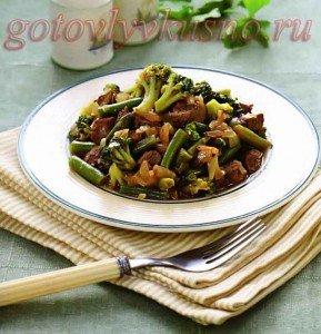 Рагу из баранины с зелеными овощами