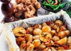топинамбур, запеченный со сливками и беконом